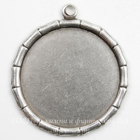 """Сеттинг - основа - подвеска """"Бамбук"""" для камеи или кабошона 18 мм (оксид серебра) ()"""
