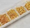 Набор колечек одинарных (примерно 1700 шт) в контейнере (цвет - золото) 3-9х0,5-1 мм