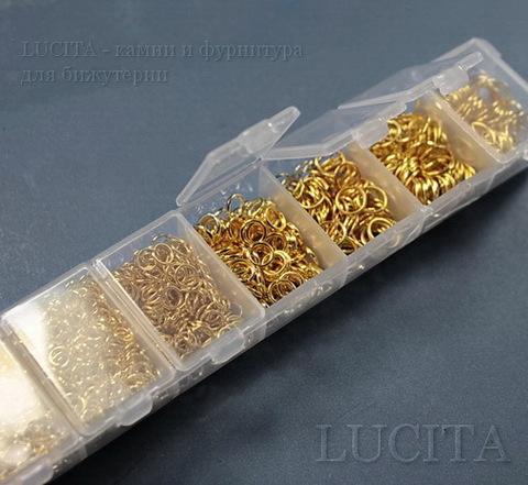 Набор колечек одинарных (примерно 1700 шт) в контейнере (цвет - золото) 3-9х0,5-1 мм ()