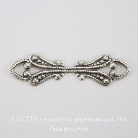Винтажный декоративный элемент - коннектор (1-1) 25х7 мм (оксид серебра) ()