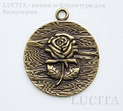 """Подвеска """"Роза"""" (цвет - античная бронза) 45х39 мм"""