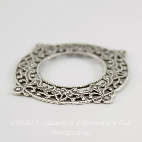 Винтажный декоративный элемент - рамка филигранная 33х29 мм (оксид серебра) ()