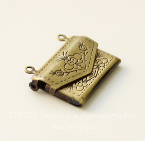 "Подвеска - медальон ""Сумочка"" 21х17 мм (цвет - античная бронза) ()"