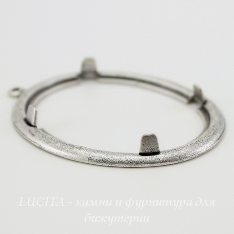 Сеттинг - основа - подвеска для камеи или кабошона 40х30 мм (оксид серебра) ()