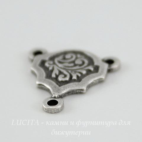 Винтажный декоративный элемент - коннектор (1-2) 13х12 мм (оксид серебра) ()