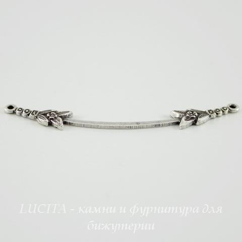 Винтажный декоративный элемент - коннектор (1-1) 45х5 мм (оксид серебра) ()