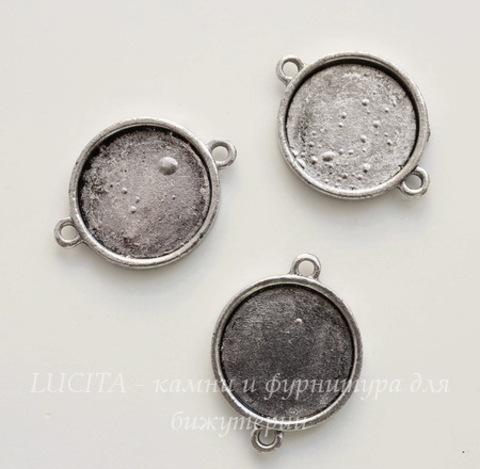 Сеттинг - основа - коннектор (1-1) для кабошона 20 мм (цвет - античное серебро) ()