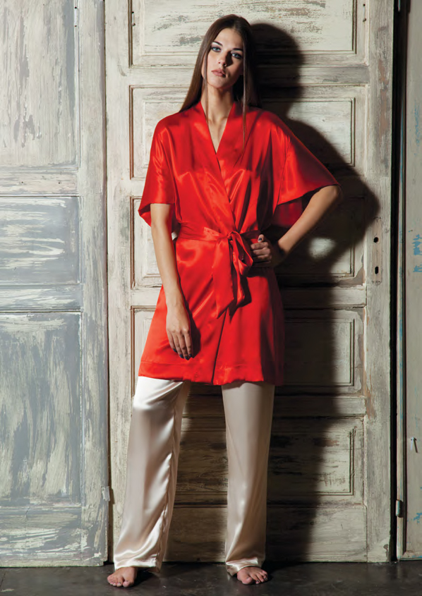 Шелковый халат кимоно Verdiani (Женские халаты)