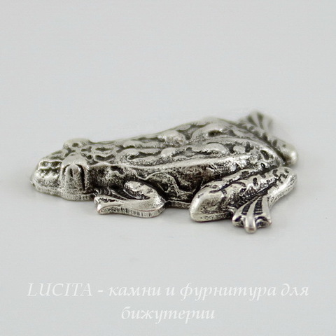 "Винтажный декоративный элемент - штамп ""Лягушка"" 19x17 мм (оксид серебра) ()"