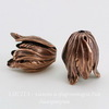 Винтажный декоративный элемент - шапочка в виде тюльпана 20х15 мм (оксид меди) ()