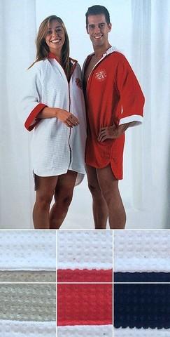 Элитный халат вафельный Vaurien белый с красным от Mirabello