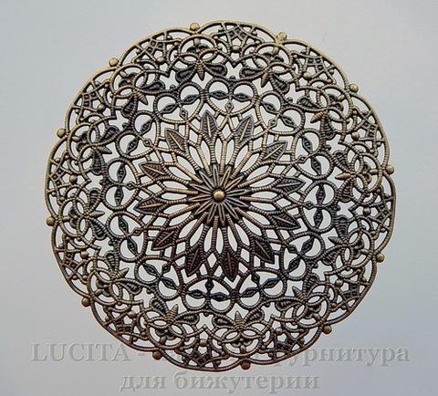 Коннектор - филигрань (цвет - античная бронза) 56,5 мм