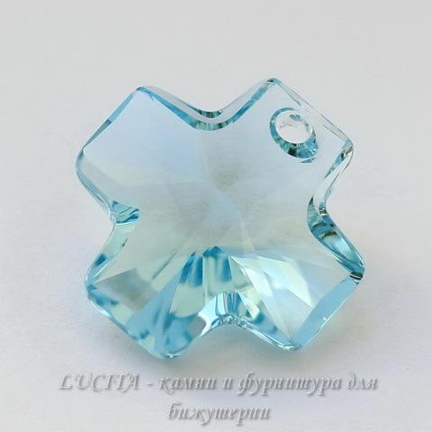 6866 Подвеска Сваровски Крестик Aquamarine (20 мм)