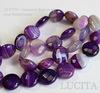 Бусина Агат, круглая плоская с огранкой, цвет- фиолетовый с белыми полосками, 12х5 мм, нить