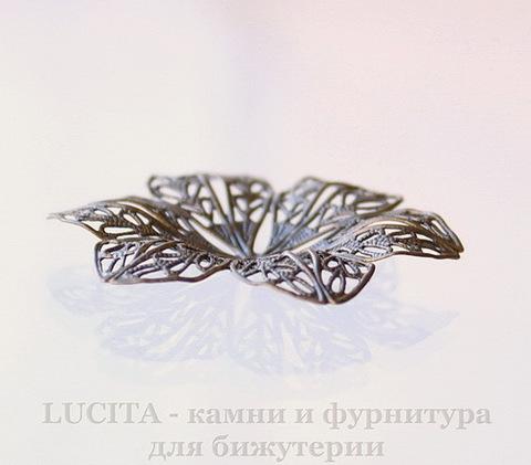 "Филигрань ""Цветок"" 42х37 мм (цвет - античная бронза)"