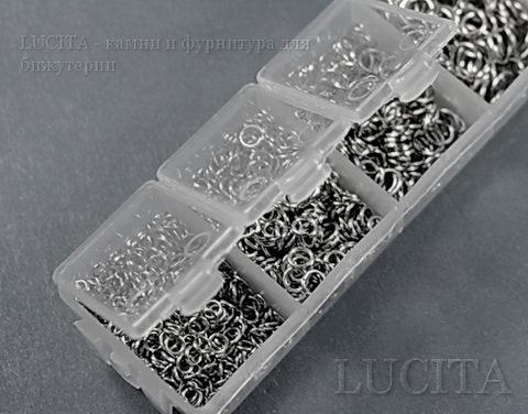 Набор колечек одинарных (примерно 1500 шт) в контейнере (цвет - античное серебро) 3-8х0,5-1 мм ()