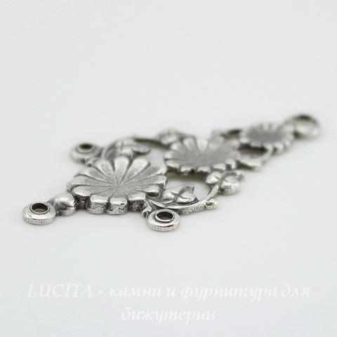 Винтажный декоративный элемент - коннектор (1-3) 31х16 мм (оксид серебра) ()