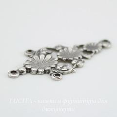 Винтажный декоративный элемент - коннектор (1-3) 31х16 мм (оксид серебра)