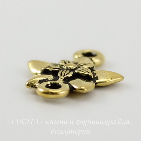 "Коннектор TierraCast ""Жасмин"" (1-1) 16х12 мм (цвет-античное золото) ()"
