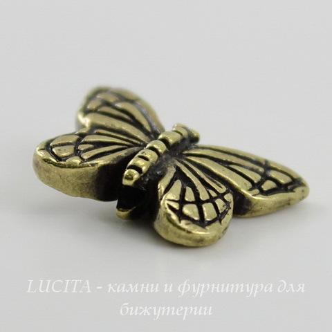 "Бусина TierraCast ""Бабочка"" 16х11 мм (цвет-античная латунь) ()"