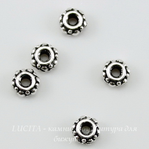 Бусина - спейсер TierraCast (цвет-античное серебро) 4х2 мм, 5 штук
