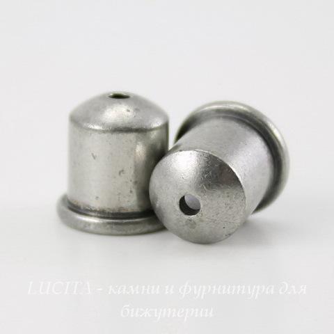 """Концевик для шнура 6 мм TierraCast """"Купол"""" (цвет-античное серебро) 9х9 мм ()"""