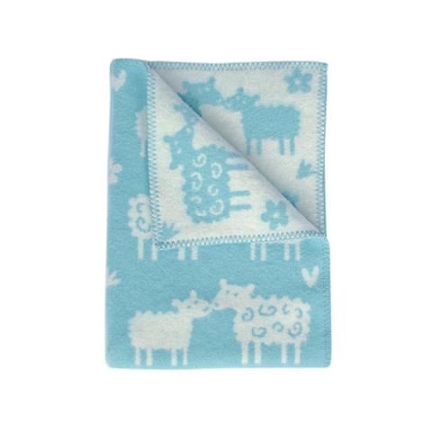 Одеяло/плед/ для новорожденных шерсть-эко Klippan, Овечки, 65x90 см, голубой