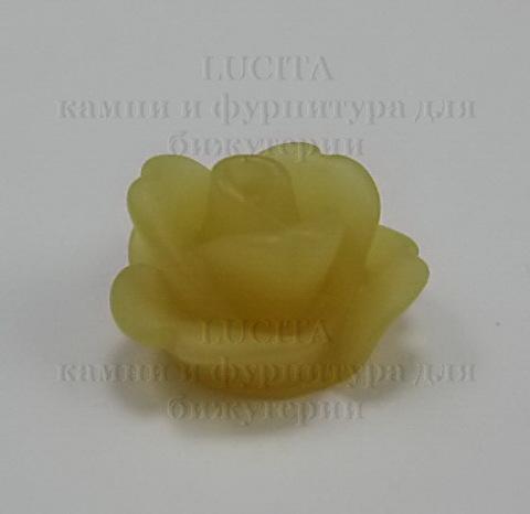 Кабошон акриловый светло-коричневый Розочка, 11х7 мм ()