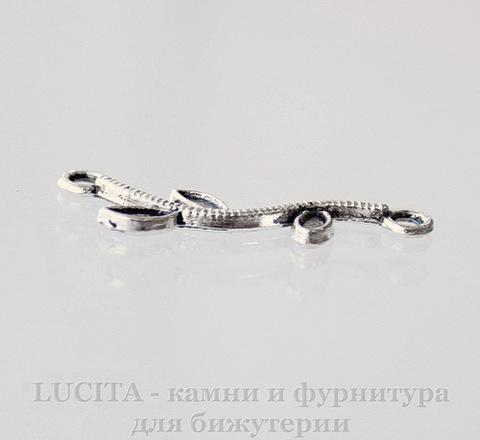 """Коннектор """"Веточка"""" (1-1) 27х8 мм (цвет - античное серебро)"""