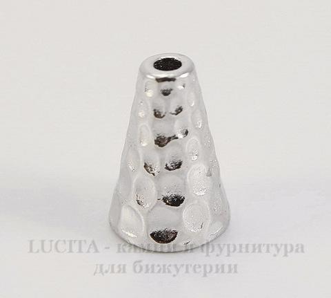 "Шапочка - конус для бусины TierraCast ""Hammertone"" 12х9 мм (цвет-платина)"