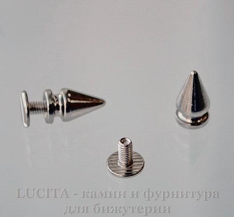 Шип винтовой из 2х частей (цвет - платина) 13х7 мм,8х7 мм ()