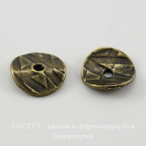 """Шапочка для бусины TierraCast """"Геометрия"""" (цвет-античная латунь) 10х2 мм, 2 штуки ()"""