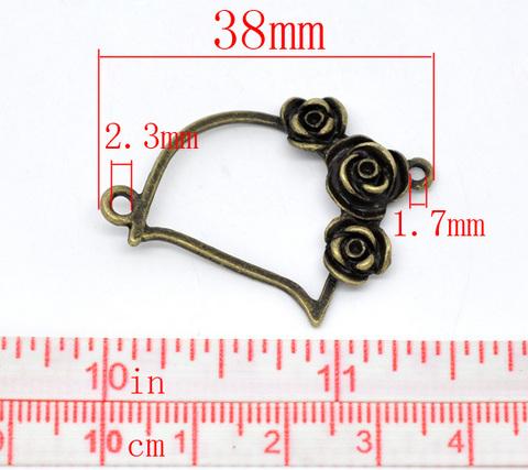 """Коннектор """"Три розы"""" (1-1) 38х27 мм (цвет - античная бронза) ()"""