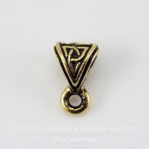 """Бейл TierraCast """"Кельтский узел"""" (цвет-античное золото) 9х6х5 мм"""