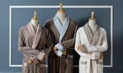 Элитный халат махровый Hampton слоновой кости с серым от Casual Avenue