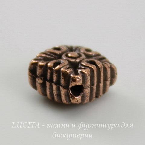 """Бусина ромб TierraCast """"Luna"""" 11х11х6 мм (цвет-античная медь) ()"""