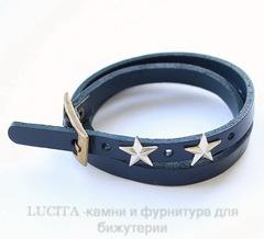 Браслет (кожа) цвет - темно-синий + античная бронза 520х8,5 мм