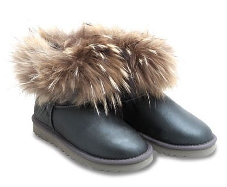 UGG Fox Fur Mini Metallic Grey