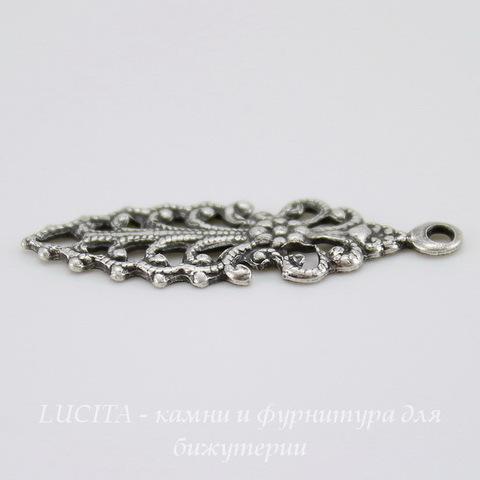 Винтажный декоративный элемент - подвеска филигранная 26х9 мм ( оксид серебра) ()