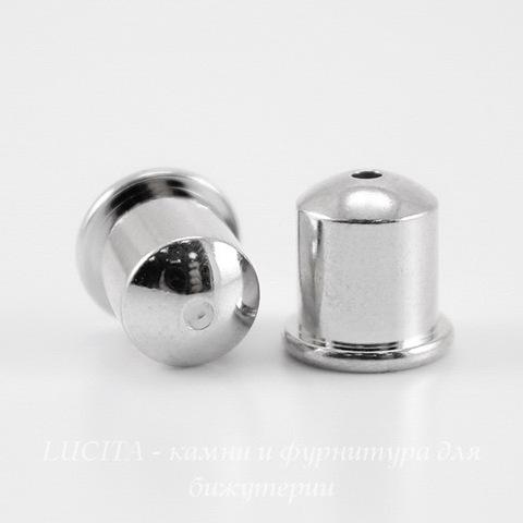 """Концевик для шнура 6 мм TierraCast """"Купол"""" (цвет-платина) 9х9 мм"""