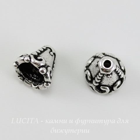 """Шапочка - конус для бусины TierraCast """"Наследие"""" 8х8 мм (цвет-античное серебро) ()"""