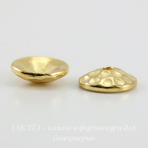"Шапочка для бусины TierraCast ""Hammertone"" (цвет-золото) 8х2,5 мм ()"