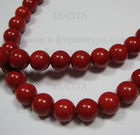 Бусина Коралл (искусств), шарик, цвет - красный, 8 мм, нить
