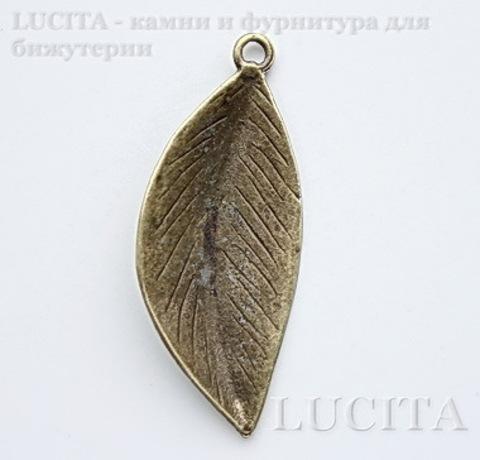 "Подвеска ""Лист"" (цвет - античная бронза) 51х21 мм"