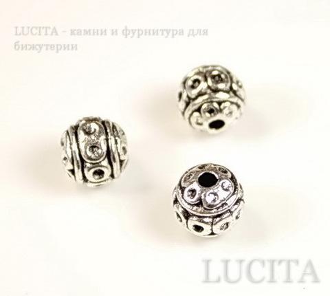 """Бусина металлическая - шарик """"Кружочки"""" 8 мм (цвет - античное серебро)"""