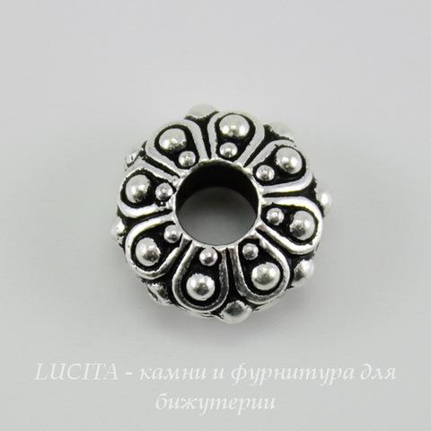 """Бусина - рондель TierraCast """"Casbah"""" (цвет-античное серебро) 12х5 мм"""