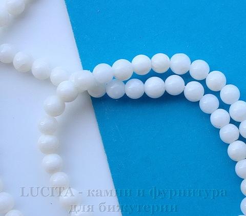 Бусина Коралл, шарик, цвет - белый, 4 мм, нить