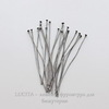 Винтажные пины - гвоздики 51х0,5 мм (оксид серебра), 10 штук ()