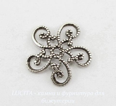 Винтажный декоративный элемент - шапочка филигранная 13 мм (оксид серебра)