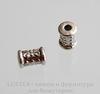 Бусина металлическая трубочка с узорами (цвет -  античное серебро) 6х4 мм, 10 штук